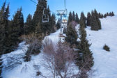 Chairlift in mountains in winter in Ak Bulak, Almaty, Kazakhstan, Asia — Stock Photo