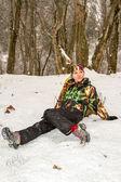 Beautiful woman in ski suit in snowy winter outdoors, Almaty, Kazakhstan, Asia — Stock Photo