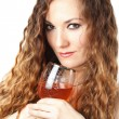 Beautiful  Woman with long hair Holding a Glass of Wine on white background - Stok fotoğraf