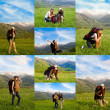 Collage of climber woman with backpack in mountains against blue sky in Akbulak,Almaty, Kazakhstan — Stock Photo #25447831