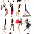 Young woman exercising collage - yoga,fitness,pilates,aerobics on isolated white background - Stock Photo