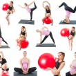 Collage of regnant fitness two women make stretch on yoga and pilates pose on white background The concept of Sport and Health — Stock Photo