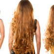Collage of hairstyle from long curly hair from the back on isolated white background — Stock Photo