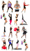 Young woman exercising collage - yoga,fitness,pilates,aerobics on isolated white background — Stock Photo
