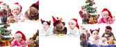 Collage of Santa baby girl and toy in Christmas on isolated white background. The concept of childhood and holiday New year — Stock Photo