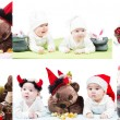 Collage of Santa baby girl and toy in Christmas on isolated white background. The concept of childhood and holiday New year — Stock Photo #25577473