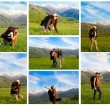 Collage of climber woman with backpack in mountains against blue sky in Akbulak,Almaty, Kazakhstan — Stock Photo #25577479