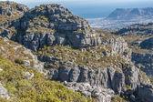 Vista panorámica en cape town, montaña de la mesa, sudáfrica desde una perspectiva aérea — Foto de Stock