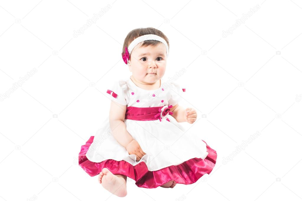 petite mignon b b fille en robe rose isol sur fond blanc utilisation pour un enfant la. Black Bedroom Furniture Sets. Home Design Ideas