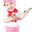 Baby girl wearing a chef hat with vegetables and pan isolated on white background.The concept of healthy food and childhood — Stock Photo