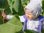 Sonriente niño niña bonita en hojas de bardana en parque — Foto de Stock