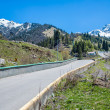 Nature of  mountains,  green trees and blue sky, road on Medeo in Almaty, Kazakhstan,Asia at summer — Stock Photo