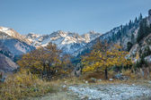 Panorama of nature green mountains, snow and blue sky in Chimbulak Almaty, Kazakhstan — Stock Photo