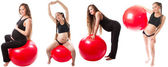 Collage of Pregnant fitness woman doing exercise on fitball on white background The concept of Sport and Health — Stock Photo