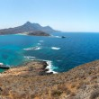 Panorama of Gramvousa , westernmost peninsula of Crete in Greece. Remains of Venetian fort on the top of small isle by Cretan insurgents during Greek War of Independence. Magical turquoise waters, lag — Stock Photo #29105081