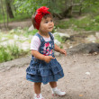 Year-old adorable little child girl in park at summer,Almaty, Kazakhstan — Stock Photo