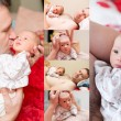 Collage of happy father and newborn baby daughter cuddling at home, Use it for a child, parenting or love concept — Stock Photo