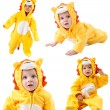 Collage of children,dressed in lion carnival suit, isolated on white background. Baby zodiac - sign Leo. The concept of childhood and holiday — Stock Photo