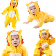 Stock Photo: Collage of children,dressed in lion carnival suit, isolated on white background. Baby zodiac - sign Leo. The concept of childhood and holiday