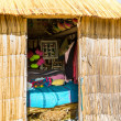 Thatched home on Floating  Islands on Lake Titicaca Puno, Peru, South America — Foto Stock