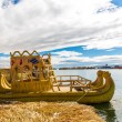 Traditional reed boat lake Titicaca,Peru,Puno,Uros,South America. — Stock Photo