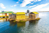 Floating Islands on Lake Titicaca Puno, Peru, South America,thatched home. — Foto Stock