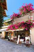 Street cafe in Small cretan village in Crete island, Greece — Stock Photo