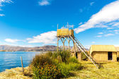 Thatched tower on Floating Islands on Lake Titicaca Puno, Peru, South America. — Stock Photo