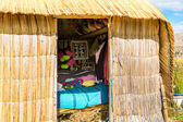 Thatched home on Floating Islands on Lake Titicaca Puno, Peru, South America — Stockfoto
