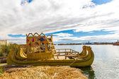Traditional reed boat lake Titicaca,Peru,Puno,Uros,South America. — Stock Photo