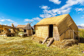 Thatched home on Floating Islands on Lake Titicaca Puno, Peru, South America. Dense root that plants Khili interweave form natural layer about one to two meters thick that support islands — Foto Stock
