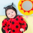 Baby girl, dressed in ladybug costume  — Foto Stock