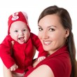 Stock Photo: Happy mom and baby girl