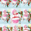 Collage of baby cook girl  — Stock Photo