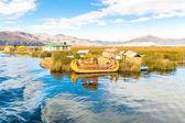 Reed boat lake Titicaca,Peru — Stock Photo