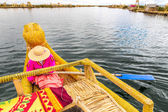 Traditional reed boat lake Titicaca — Stock Photo