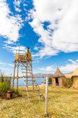 Drijvende eilanden aan het titicacameer puno — Stockfoto