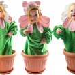 Baby boy and girl dressed in flower costume  — Stock Photo