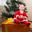 Stock Photo: Santa baby girl