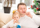 Happy father and child girl — Foto Stock