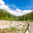 Stock Photo: Road on Big Almaty Lake