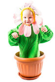 Baby boy dressed in flower costume — Stock Photo