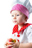 Girl wearing chef hat — Stock Photo