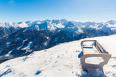 Bench in ski resort Bad Gastein — Stock Photo