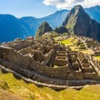 Panorama of Mysterious city - Machu Picchu, Peru,South America. The Incan ruins. Example of polygonal masonry and skill — Stock Photo #46418767