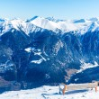 Bench in ski resort Bad Gastein in winter snowy mountains, Austria, Land Salzburg — Stockfoto #46419169