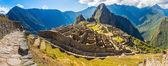 Panorama of Mysterious city - Machu Picchu, Peru,South America. The Incan ruins. Example of polygonal masonry and skill — Foto Stock