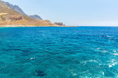 Balos beach. View from Gramvousa Island, Crete in Greece.Magical turquoise waters, lagoons, beaches of pure white sand. — Stock Photo