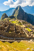 Mysterious city - Machu Picchu, Peru,South America. The Incan ruins. Example of polygonal masonry and skill — Stock Photo