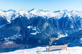 Bench in ski resort Bad Gastein in winter snowy mountains, Austria, Land Salzburg — Foto Stock